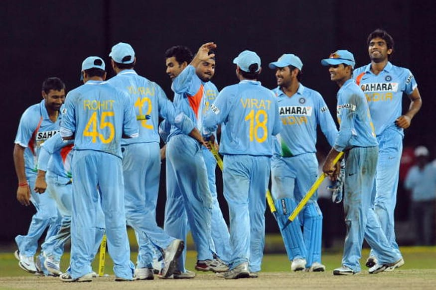 Indian players celebrate after winning an ODI against Sri Lanka in 2008. (Getty Images)
