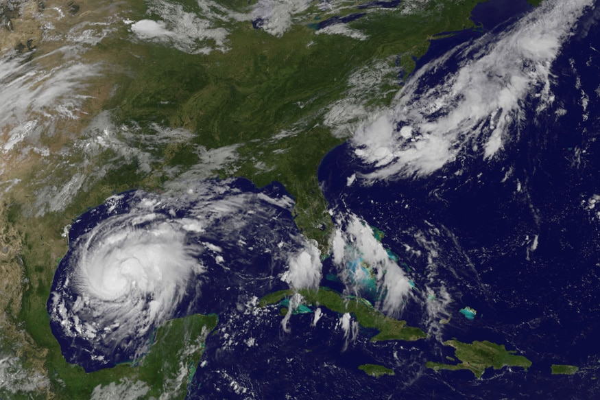 Tropical Storm Harvey is seen approaching the the Texas Gulf Coast in this NOAA GOES East satellite image