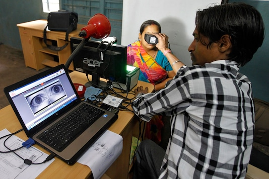 A woman goes through the process of eye scanning for Unique Identification (UID) database system. (Representative Image /REUTERS)