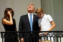 Donald Trump Looks at Solar Eclipse Without Glasses