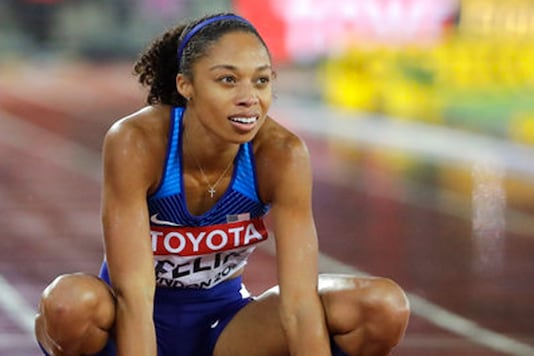 United States' Allyson Felix after taking the bonze medal in the Women's 400m final during the World Athletics Championships in London on Wednesday. (AP Image)