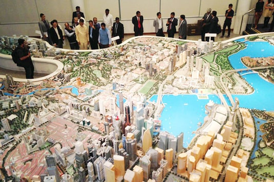 A model of Andhra Pradesh's new capital Amaravati.