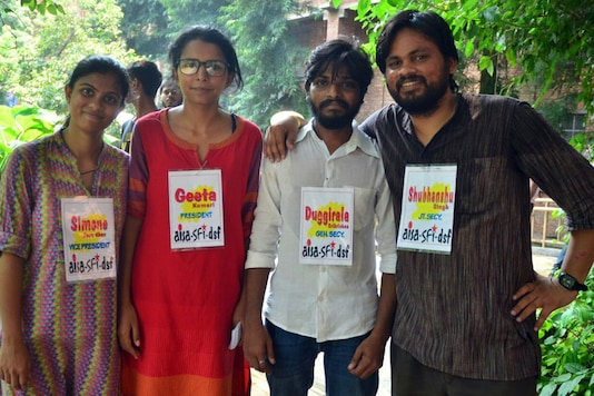 Geeta (AISA) has been elected President (in red), Simone (AISA) is the new Vice President, Duggirala (SFI) is the General Secretary and Shubhanshu (DSF) is the new JS.