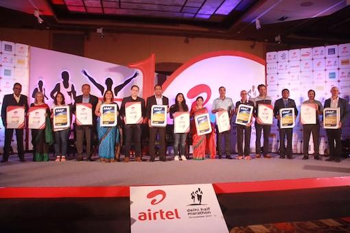 Launch of Airtel Delhi Half Marathon.
