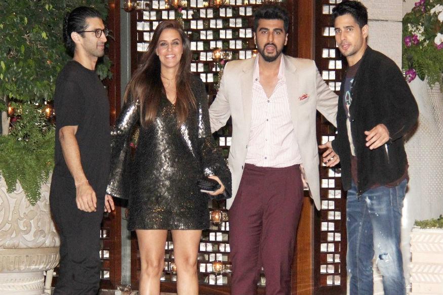 (Photo: Aditya Roy Kapur, Neha Dhupia, Arjun Kapoor and Siddharth Malhotra at the Ambani bash/ Yogen Shah)