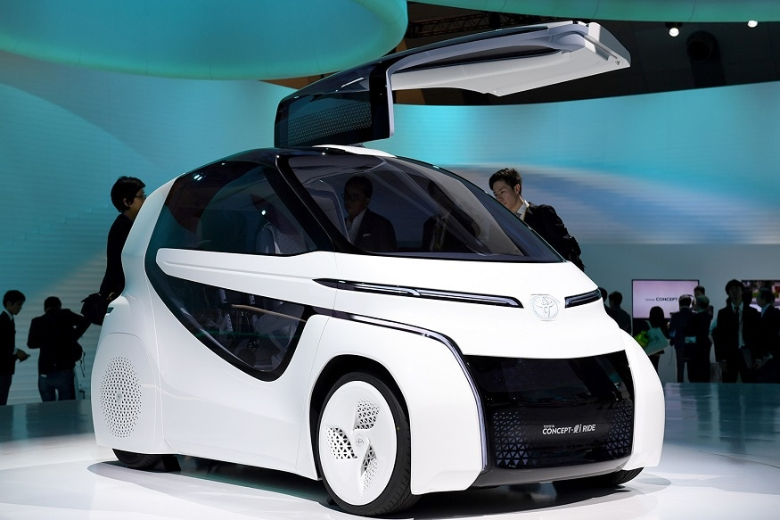 A concept car on display at the Toyota booth during the Tokyo Motor Show in Tokyo