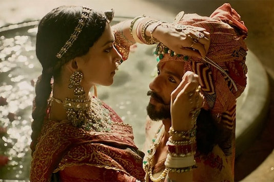 Deepika Padukone and Shahid Kapoor in a still from the Bollywood film Padmavati.