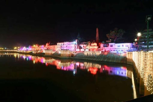 The Saryu Ghat lit up during Diwali (File photo: News18)