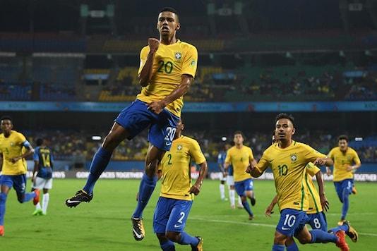 Brazil celebrate after scoring a goal. (Twitter/FIFA)
