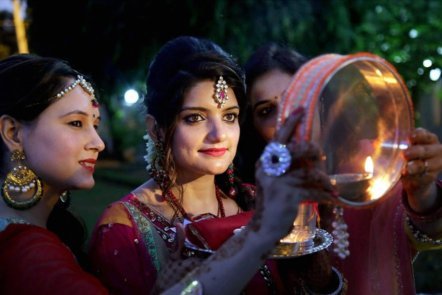 Image result for women celebrating karwa chauth