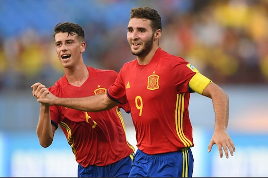 Spain celebrate after scoring a goal. (Twitter/FIFA)