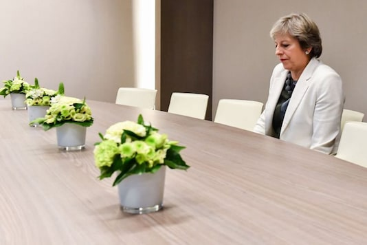 Theresa May waiting for European Council President Donald Tusk, with whom she was to hold talks to try to break the deadlock in Brexit negotiations.