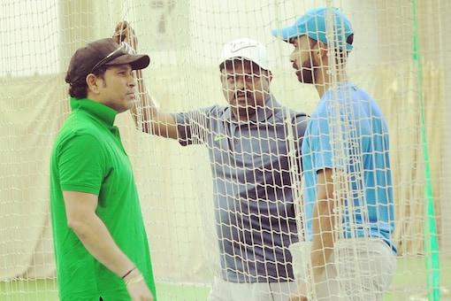 Ajinkya Rahane talks with Sachin Tendulkar as coach Pravin Amre looks on, (Ajinkya Rahane/Twitter)