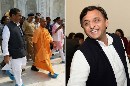 """SP leader Akhilesh Yadav said the BJP """"never considered"""" Taj Mahal as a heritage, but CM Yogi Adityanath (left) is now cleaning the monument's West Gate."""