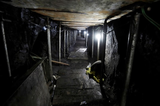 A general view of a 500-meter-long tunnel that would lead into the main vault of Bank of Brazil, according to police, in Sao Paulo, Brazil (REUTERS)