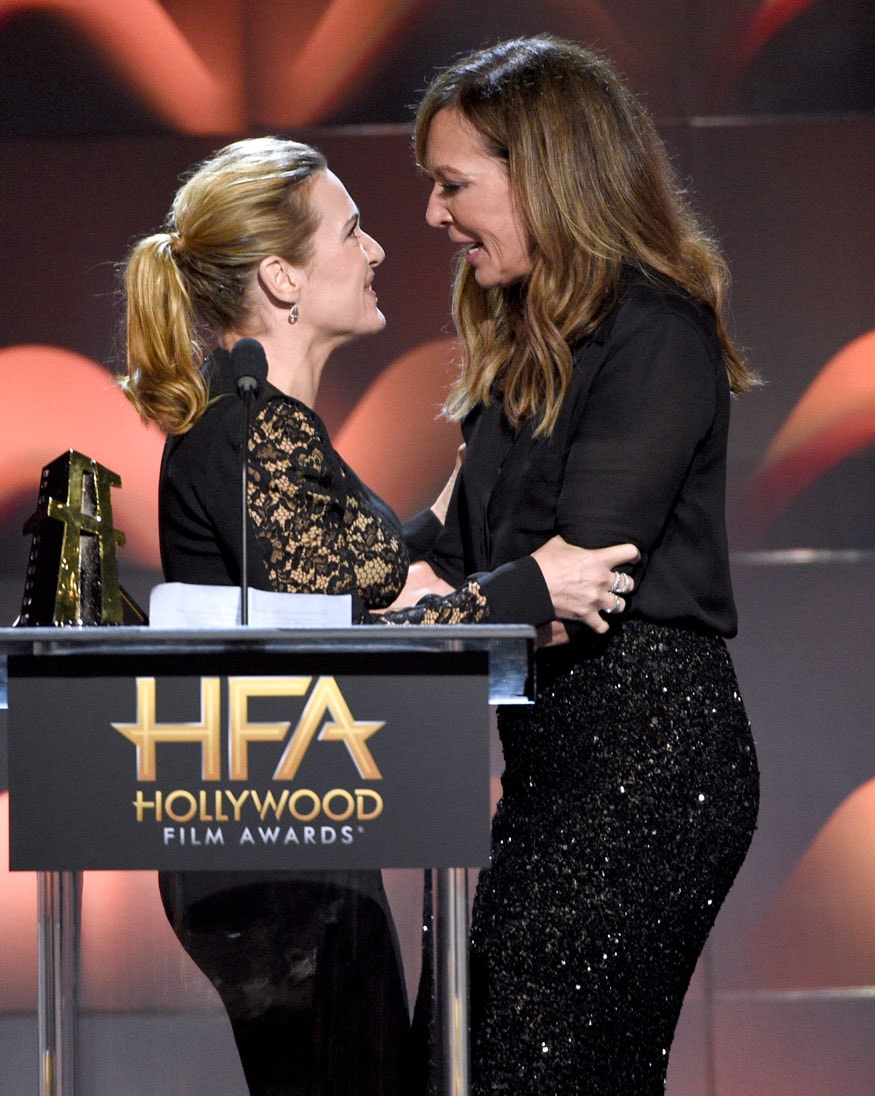 "Kate Winslet, left, winner of the Hollywood actress award for ""Wonder Wheel,"" and Allison Janney speak on stage at the Hollywood Film Awards at the Beverly Hilton hotel on November 5, 2017, in Beverly Hills, California. (Image: AP)"