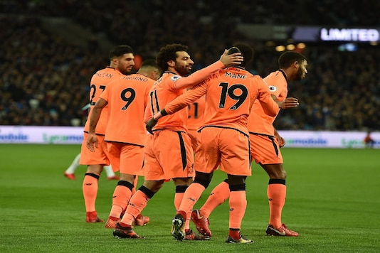 Liverpool players celebrate a goal in their 4-1 win at West Ham (Image: Twitter/Liverpool)