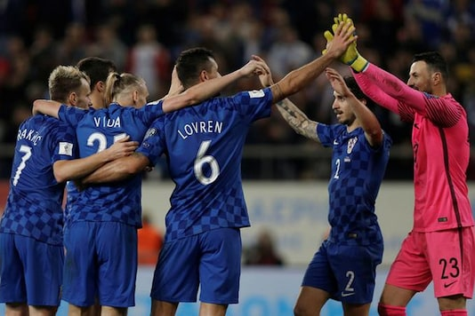 Croatia players celebrate after the match. (Reuters)