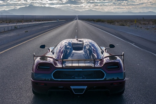 The Koenigsegg Agera RS on Route 160 in Nevada before setting a new top speed record - 277.9mph - for a production car. (Image: Koenigsegg)