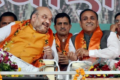 File photo of BJP chief Amit Shah with Gujarat CM Vijay Rupani. (PTI)
