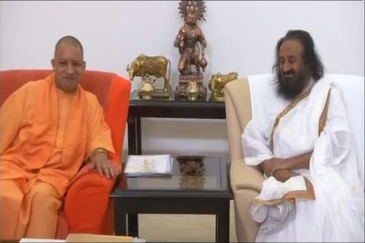 Sri Sri Ravi Shankar met Uttar Pradesh Chief Minister Yogi Adityanath on Wednesday.