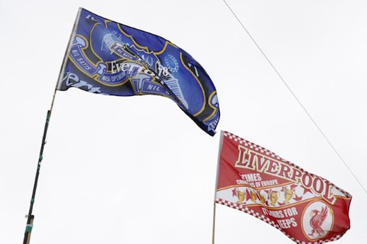 Liverpool and Everton flags outside the stadium before the match Action Images via Reuters / Carl Recine Livepic