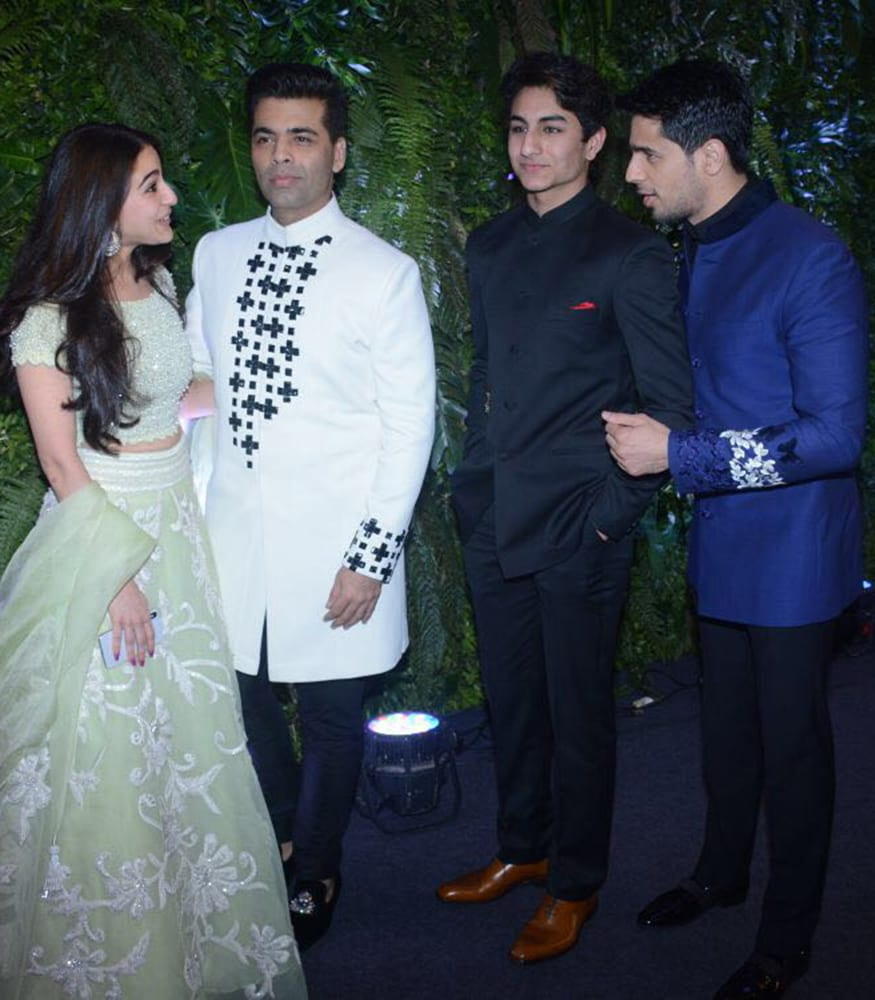 Sara Ali Khan, Karan Johar, Ibrahim Khan and Sidharth Malhotra at Virat Kohli and Anushka Sharma's wedding reception party held at St. Regis Hotel in Mumbai on December 26, 2017. (Image: Yogen Shah)