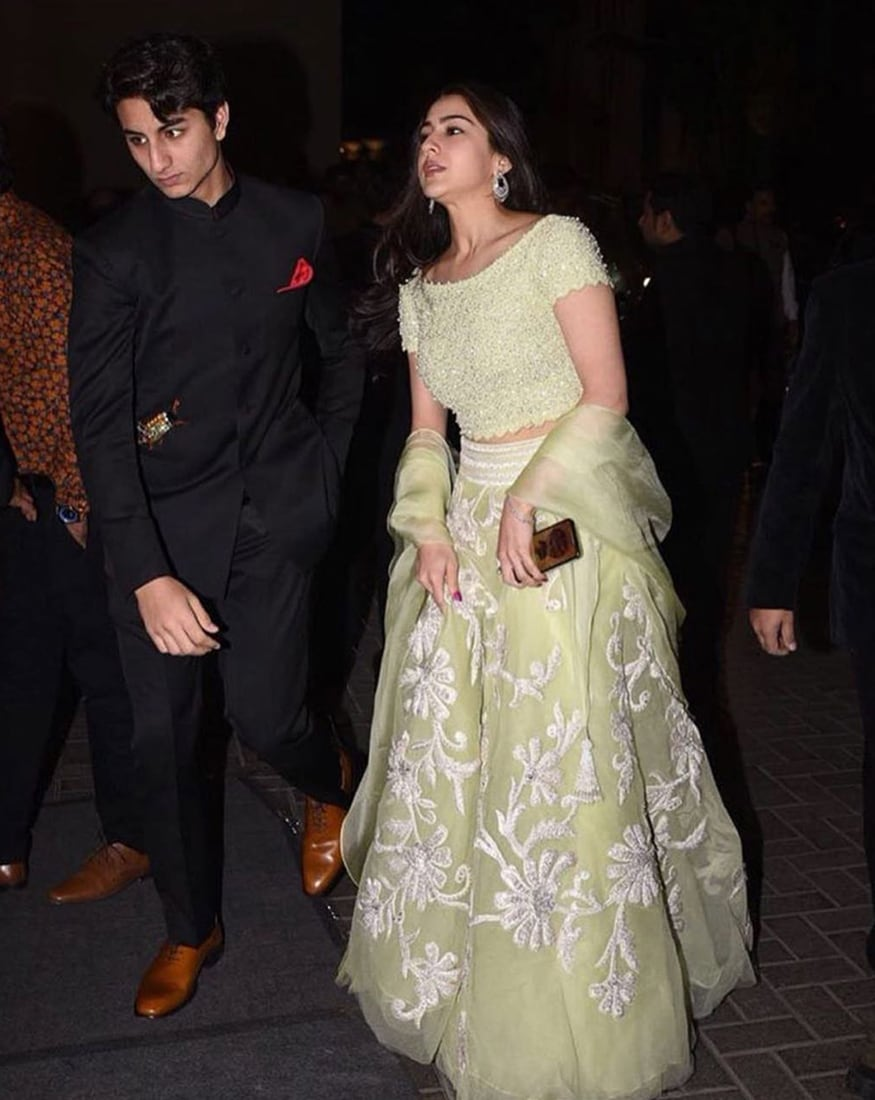 Celebrity siblings Ibrahim and Sara Ali Khan attend the wedding reception of Virat Kohli and Anushka Sharma held at St. Regis Hotel in Mumbai on December 26, 2017. (Image: Yogen Shah)