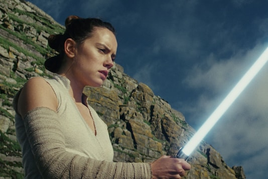 This image released by Lucasfilm shows Daisy Ridley as Rey in