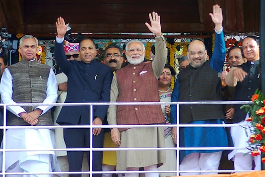 File photo of Himachal Pradesh CM Jai Ram Thakur with PM Narendra Modi and BJP president Amit Shah during a rally.
