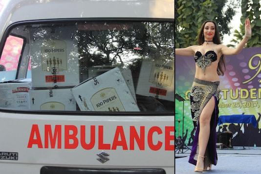 An ambulance full of liquor and a belly dancer performing at alumni meet of Meerut's Lala Lajpat Rai Memorial  Medical College. (News18.com)