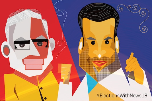 Caricatures of Narendra Modi and Rahul Gandhi. (Network18 Creatives)