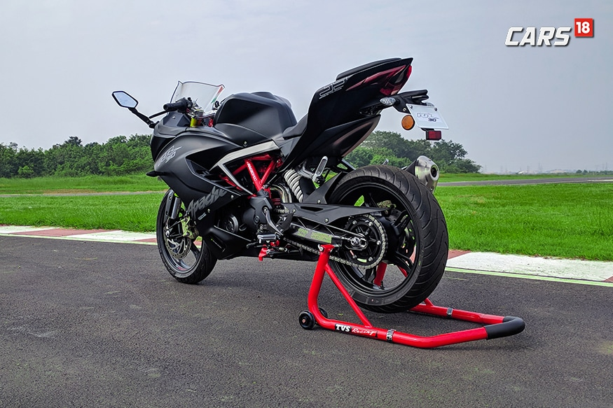 TVS Apache RR 310 from the back. (Photo: Manav Sinha/News18.com)