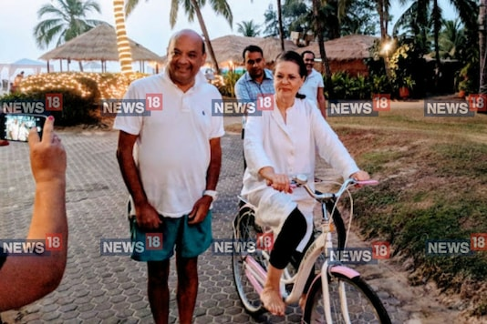 Sonia Gandhi cycling at The Leela, Goa.