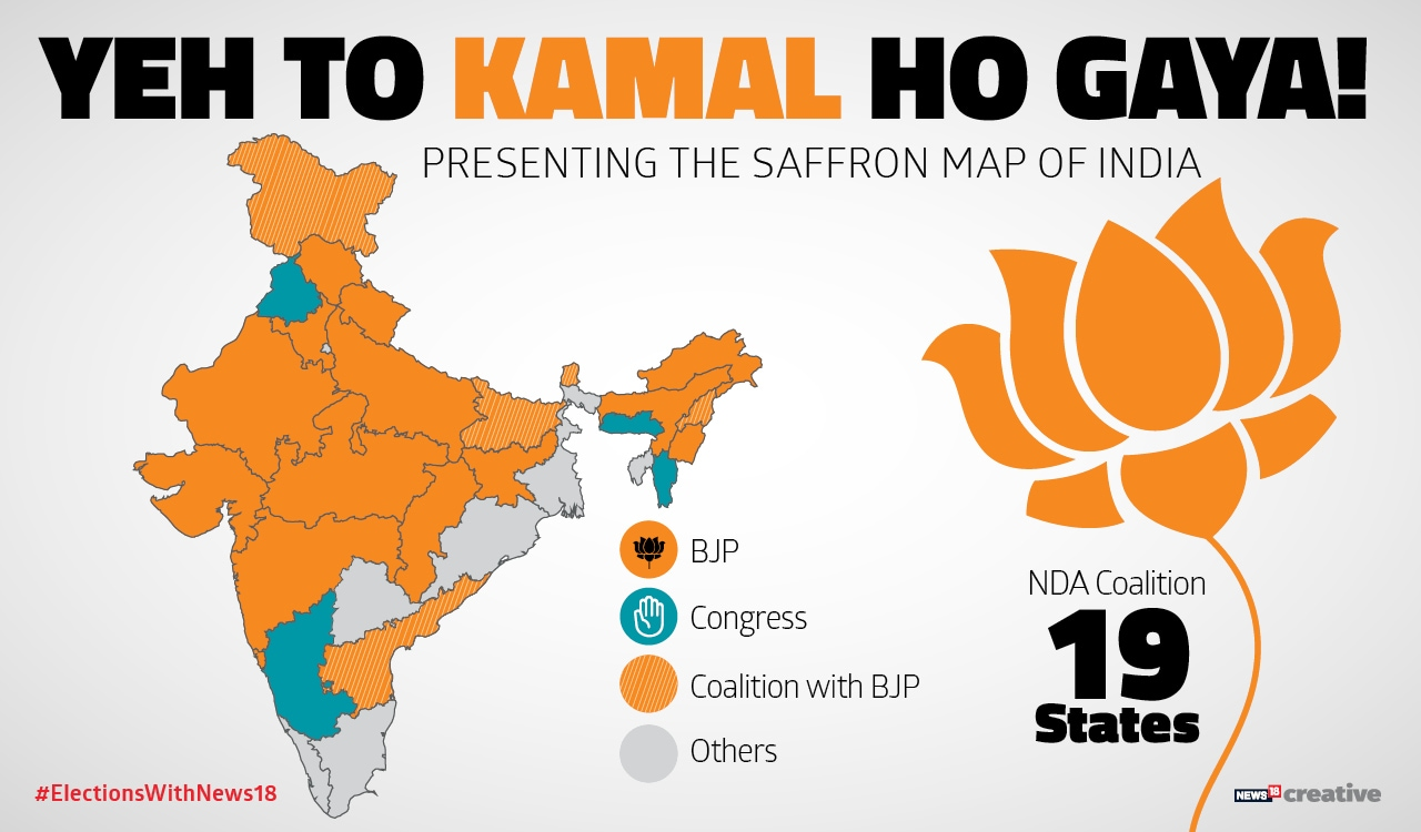 bjp map of india