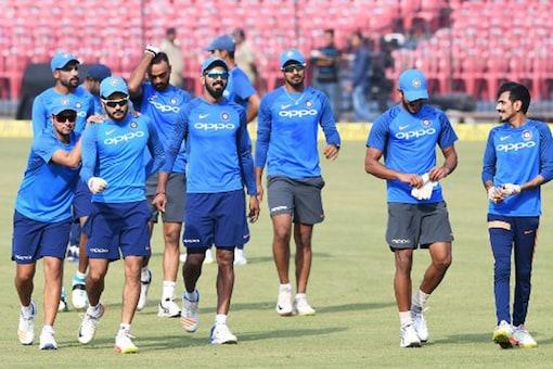 Indian players warming up.(AFP Photo)