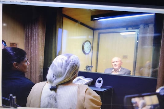 Image of Kulbhushan Jadhav's meeting with his mother and wife in December 2017 as tweeted by Pakistan's foreign office.