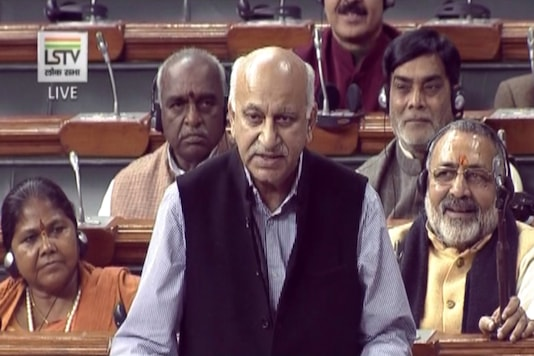 File photo of MJ Akbar in Parliament.