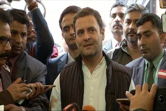 Rahul Gandhi talks to reporters outside the Parliament on Tuesday. (Photo: News18)