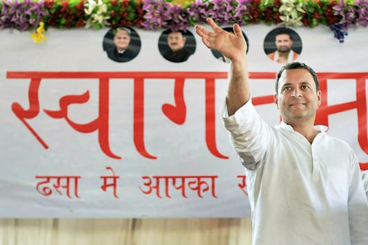 Congress vice-president Rahul Gandhi waves to supporters during an election rally in Dhasa, Gujarat on November 30. (PTI Photo)