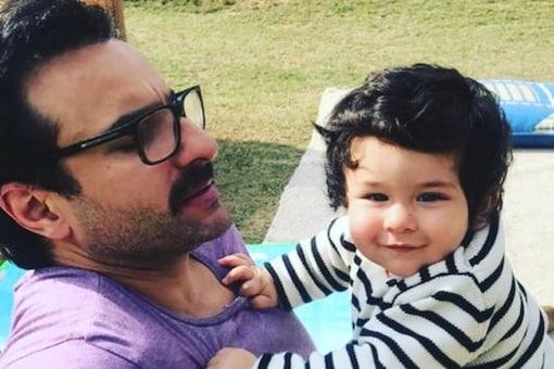 Saif Ali Khan with his son Taimur. (Image: Instagram/Karan Johar)