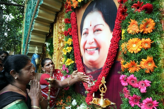 AIADMK members pay tribute to the late J Jayalalithaa on her first death anniversary in Coimbatore on December 5, 2017. (PTI)