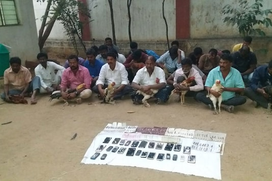 A cockfighting ring busted in Andhra Pradesh.