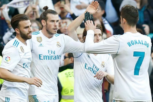 Real Madrid players celebrate after scoring against Deportivo (Image: Real Madrid/Twitter)