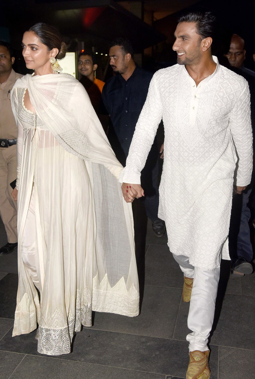 Deepika Padukone and Ranveer Singh attend the special screening of their film 'Padmaavat' held at PVR in Lower Parel, Mumbai. (Image: Yogen Shah)
