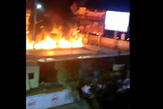 The protest took place outside Himalaya mall in Ahmedabad. (Twitter)
