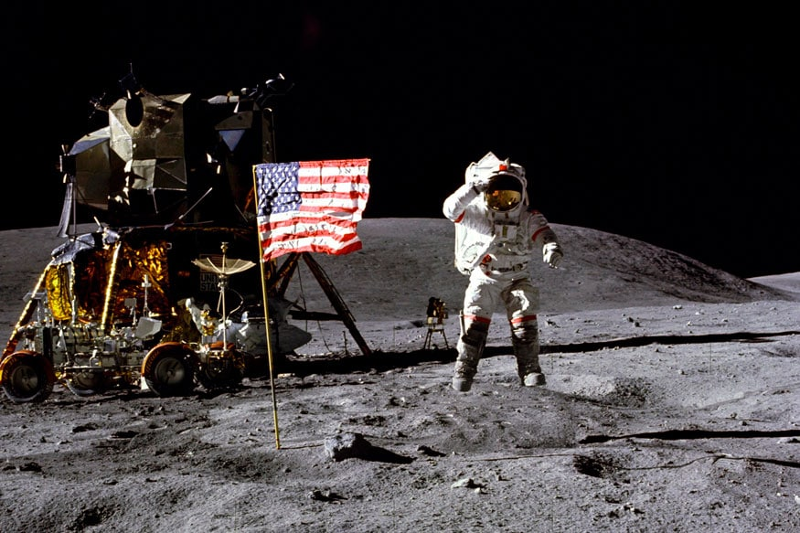 John Young salutes the U.S. flag at the Descartes landing site on the moon during the first Apollo 16 extravehicular activity (File photo/AP)