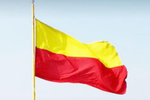 The bi-coloured flag considered to be the unofficial flag of Karnataka.
