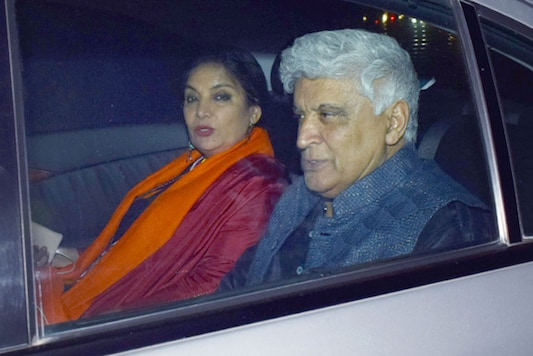 Shabana Azmi and Javed Akhtar get clicked as they arrive for the birthday party of Farah Khan in Mumbai. (Image: Yogen Shah)