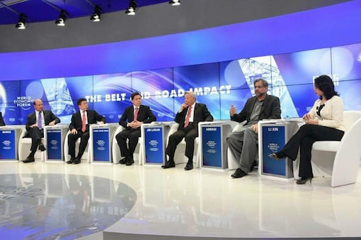 Pakistan Prime Minister Shahid Khaqan Abbasi (second from right) speaks at a panel discussion at the World Economic Forum (WEF) in Davos on Wednesday.